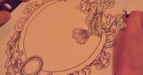 Dessin cadre tattoo pinterest dessin tatouages et for Miroir dessin