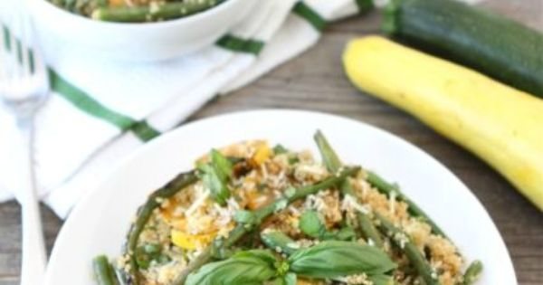 Quinoa with Grilled Summer Squash Green Beans food