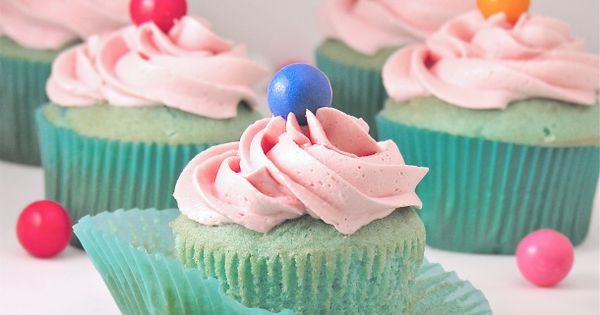 Cute idea!! Bubble Gum Cupcakes Recipe ~ Fun blue cupcakes topped with