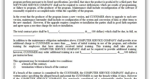 Free Printable Customer Maintenance Agreement  Sample Printable