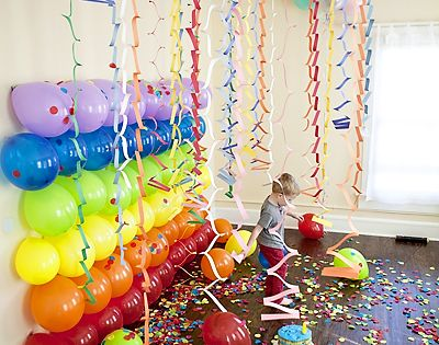 Rainbow Birthday Party Photo Backdrop - Find more Rainbow Party Ideas at
