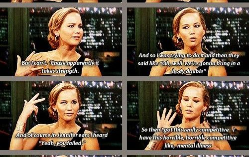 Too Funny. Jennifer Lawrence talking about chopping wood (more then likely about