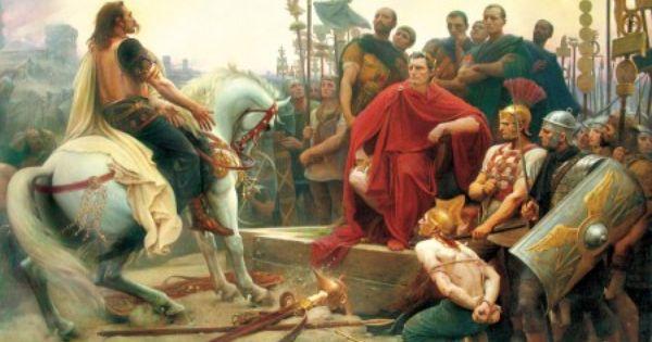 Vercingetorix surrenders to Caesar after the Siege of ...