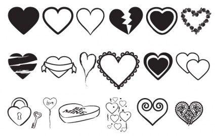 قلوب ناقلات ميكس Vector Free Vector Line Art Tattoos