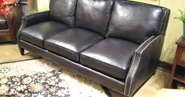 Dark Gray Leather Sofa With Nail Heads Country Willow Furniture Leather Sofas Chairs