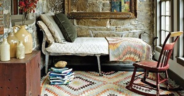 Stone walls, patterned rugs, sleeping porch. Beyond lovely.