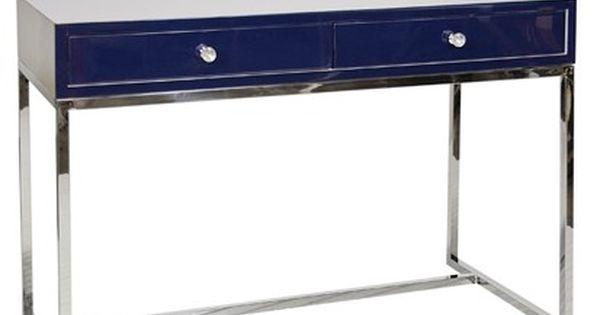 Chelsea Navy Blue Lacquer Silver Desk Silver Desk Desk Furniture