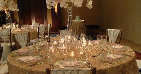 An elegant wedding reception in champagne, gold, blush ...