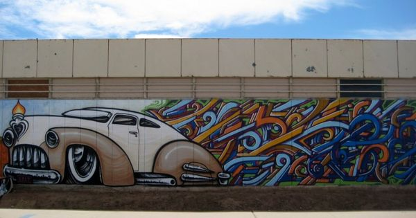 A mural by breeze and lalo cota on the bee 39 s knees in for 6 blocks from downtown mural