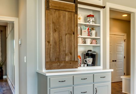 coffee station love the barn style door used as a cabinet door house decorating ideas. Black Bedroom Furniture Sets. Home Design Ideas