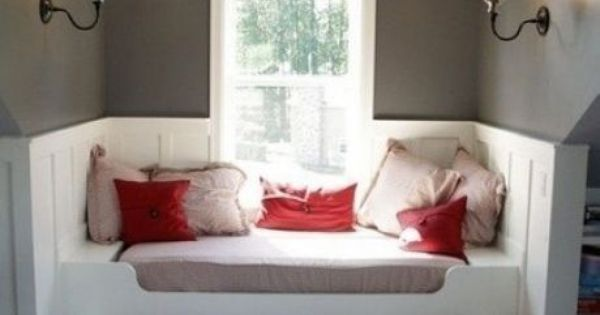 window seat + trundle bed. Cool Attic Spaces and Ideas - guest room idea