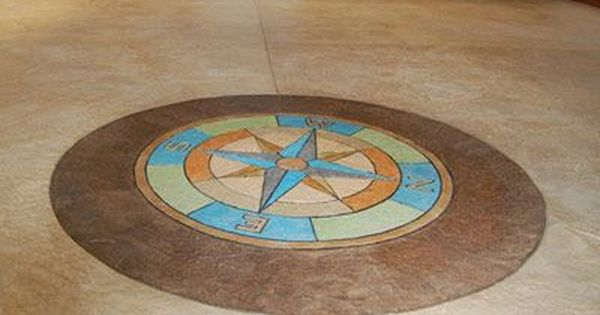 Stamped Concrete Medallions : Compass rose medallion stamped onto a concrete floor at