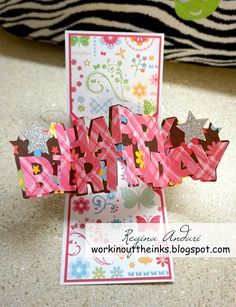 Twist Pop Up Card For Lily Birthday Card Pop Up Pop Up Cards
