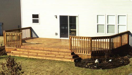 12 X 24 Deck W Wide Stairway Menards Deck Stairs Decks Backyard Building A Deck