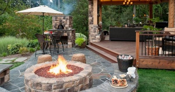 Outdoor flagstone patio ideas on a budget with unique for Stone patio ideas on a budget