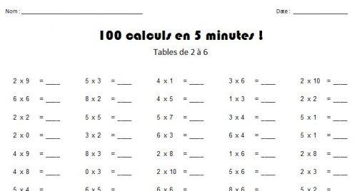 Multiplication evaluation table de multiplication ateliers pour les enfants de maternelle et - Evaluation tables de multiplication ...