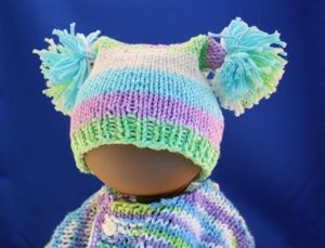 Square Knitted Baby Hat With Pom Poms Baby Hats Knitting Baby Knitting Patterns Baby Hats