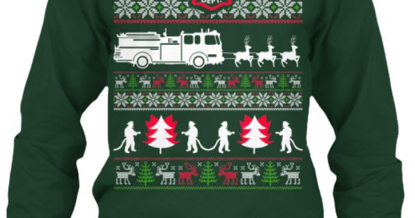 Ugly Christmas Sweater - Firefighter | Log Cabin Christmas Outfit ...