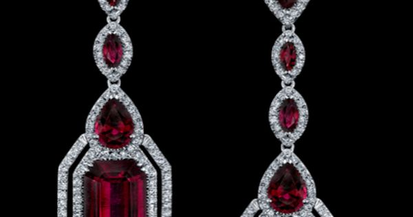 With innovative design, these vibrant rubellite earrings combine the linear shapes of