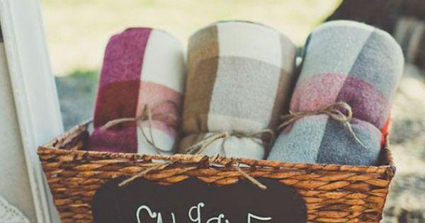 Wedding Ideas Plaid Flannel Fleece Blanket Favors Fall