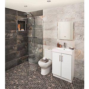 Wickes Aspen Silver Grey Porcelain Wall Amp Floor Tile 298 X 600mm Pack 6 Wickes Co Uk Bathroom Wall Tile Amazing Bathrooms Small Space Bathroom