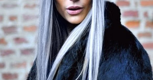 COLOURFUL HAIR TRENDS. LOVE LONG HAIR. GREY BLUE HAIR.