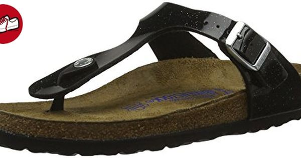 BIRKENSTOCK Classic Damen Gizeh Birko-Flor Softfootbed Zehentrenner, Schwarz (Magic Galaxy Black), 42 EU