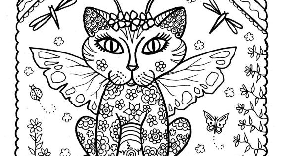 5 Pages Instant Download Coloring for Adults Fantasy Cats ...