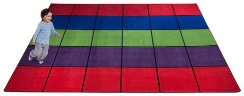 Blocks Seating Rug Multi With 30 Squares Classroom Rug Rugs Classroom Seating