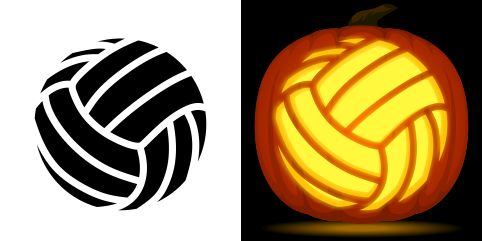 Volleyball pumpkin carving stencil free pdf pattern to