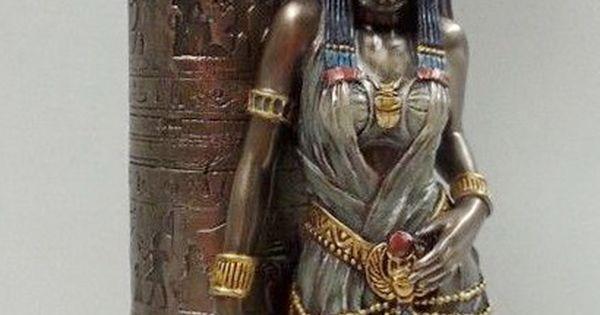 Egyptian Statue Goddess Bast Bastet Cat Leaning On Candle