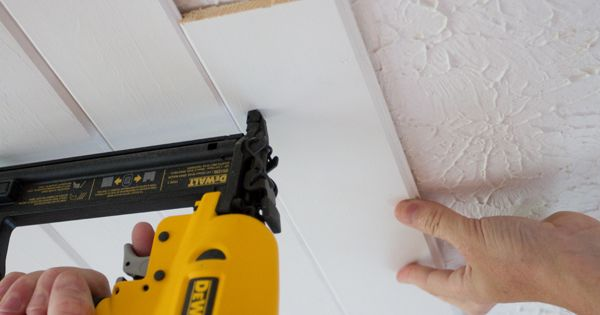 Cool idea for a different look. Popcorn Ceiling To Plank Ceiling |