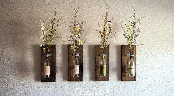 Wine Bottle Wall Vase Set Of Four Rustic Modern
