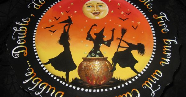 Halloween witch platter display stand one of a kind halloween