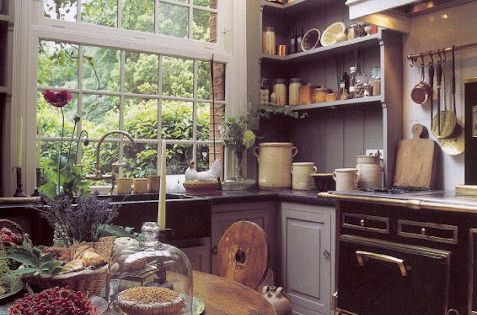 Big window in a rustic kitchen.