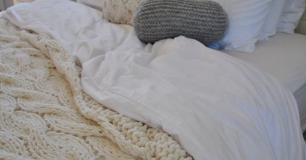 Knitting Queen Size Blanket : Chunky cable knit blanket in cream irish wool throw twin