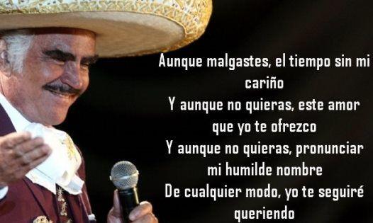 De Cualquier Modo Yo Te Seguiré Queriendo Vicente Fernández Frases De Canciones Canciones Frases