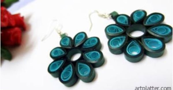 Quilled Earring – Flower Pattern | Paper Crafts | Pinterest | Flower