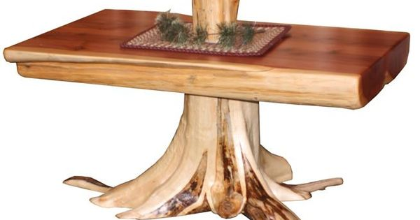 Amish Rustic Cedar Log Coffee Table With Stump Furniture Red Cedar And Log Coffee Table