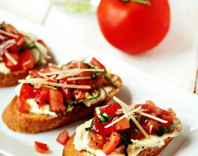 Roasted Garlic and Tomato Bruschetta Recipe | My Baking Addiction