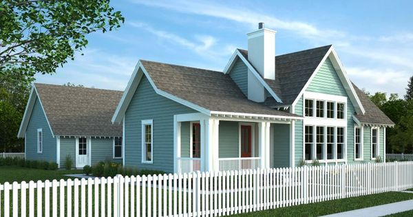 Teal Grey Siding White Trim Grey Roof House Exterior