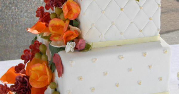 Fall Flowers Square Wedding Cake