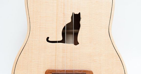 Kitty cat ukulele by Celentano Woodworks.