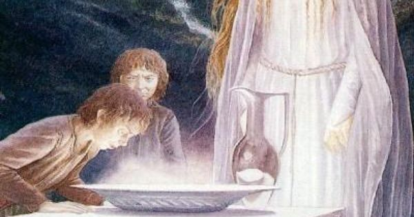 Galadriel and the hobbits water scrying in her mirror for Miroir de galadriel
