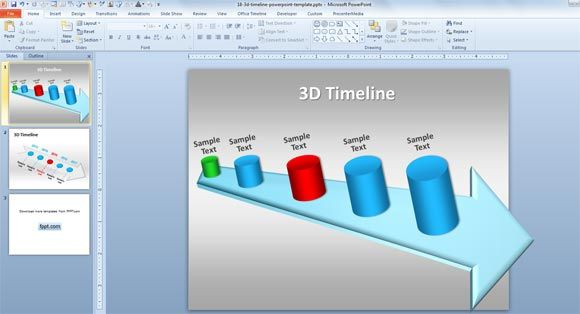 free 3d timeline template for powerpoint presentations with unique 3d timeline illustration and. Black Bedroom Furniture Sets. Home Design Ideas