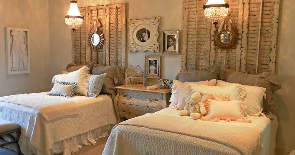 Tete de lit faite avec de vieux volets chambre pinterest vieux volets - Tete de lit avec vieux volets ...