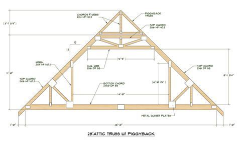 Click Here For Pdf File Of Truss Design 28 Standard Attic Truss 12 12 Pitch Attic Truss Roof Truss Design Roof Trusses