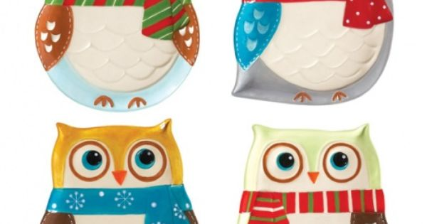 "owl & christmas huh! ^^"" Snowy Owls Plate Set Of 4 now"