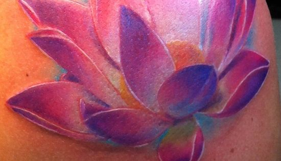 See more tattoo ideas on http://tattooswall.com/beautiful-color-lotus-flower-3d-tattoos-on-shoulder.html beautiful color lotus flower 3d tattoos
