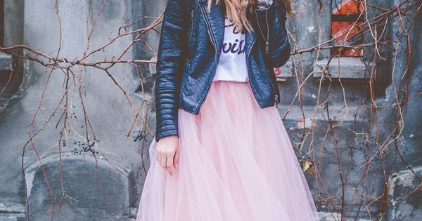 pink, wish, pink tulle, pink tutu, long tutu skirt, leather jacket, blonde,